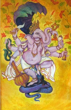 Title: 'Veer Ganesha' | Size : 4ft X 6ft | Medium: Acrylic on Canvas