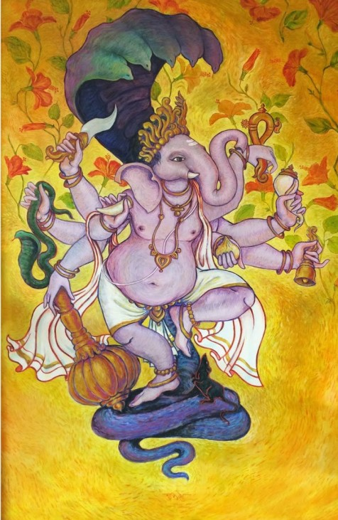 Title: 'Veer Ganesha' | Size : 4ft X 6ft | Medium: Acrylic on Canvas