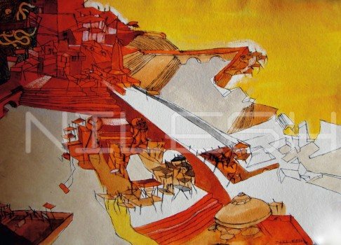 Title: 'Ganga Ghat' | Size : A4 | Medium: Watercolour on Handmade Paper