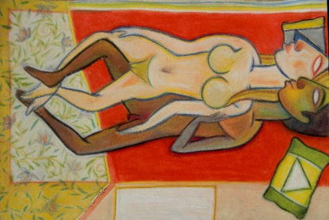 Title: 'Bed' | Size: A3 | Medium: Gosh on Paper