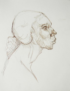 Title: 'Head Study' | Size: A3 | Medium: Ink on Paper