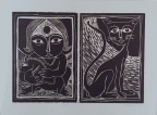 Title: 'Girl and a Cat'   Medium: Woodcut Print on Paper