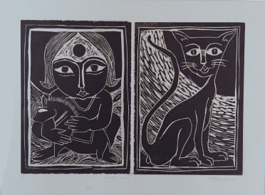 Title: 'Girl and a Cat' | Medium: Woodcut Print on Paper