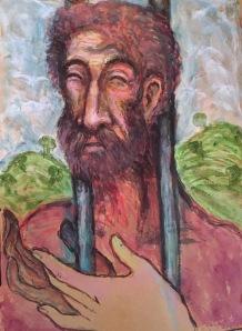 "Title: 'Prisoner of Freedom'   Size : 11.81""X16.14""   Medium: Acrylic on Handmade Paper"
